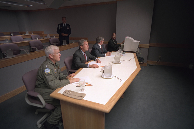 911: President George W. Bush and Teleconference at Offutt Air Force Base, 09/11/2001.