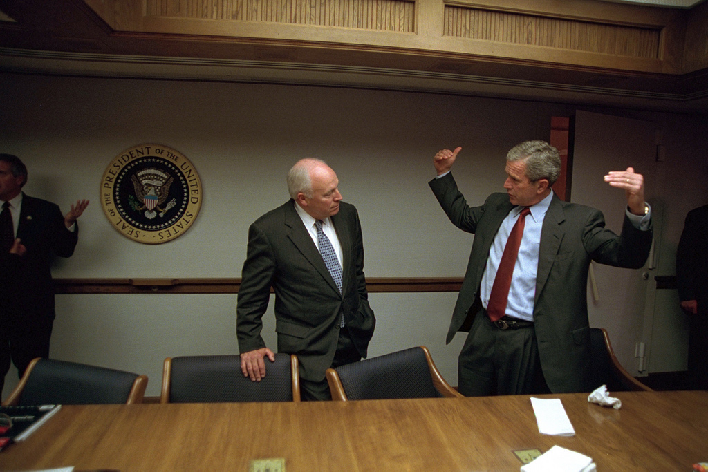 911: President George W. Bush and Vice President Cheney in President's Emergency Operations Center (PEOC), 09/11/2001.