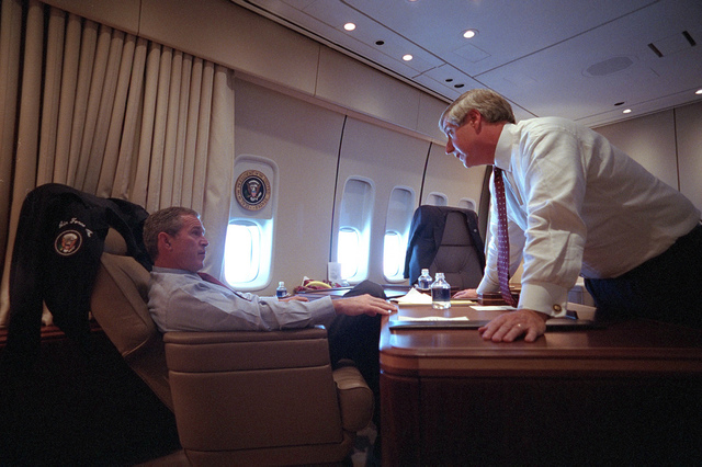 911: President George W. Bush Confers with Andy Card aboard Air Force One, 09/11/2001.