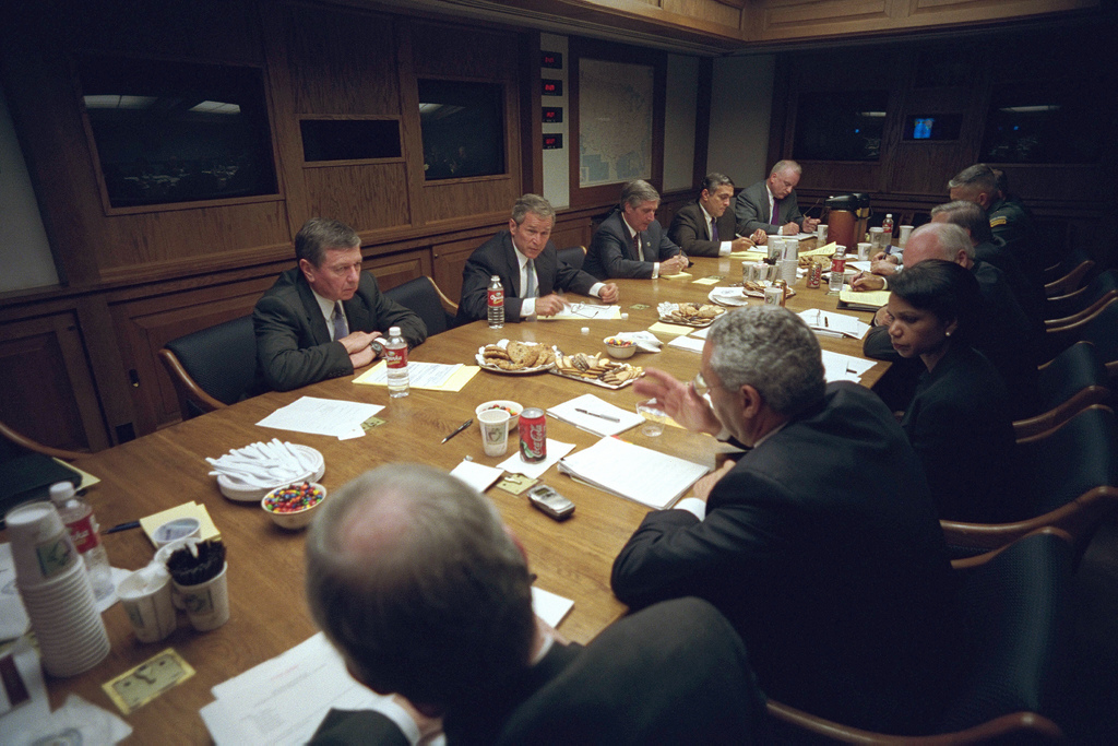 911: President George W. Bush Holds a National Security Meeting, 09/11/2001.