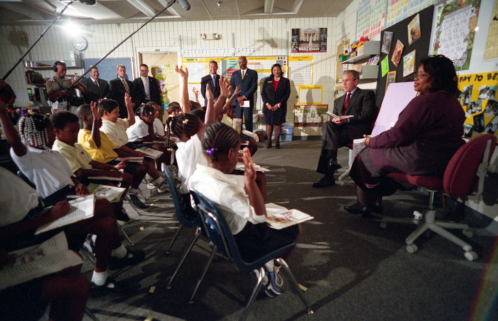 911: President George W. Bush Participates in a Classroom Demonstration at Emma E. Booker Elementary School, 09/11/2001.