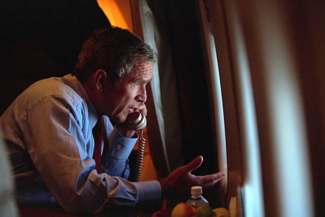 911: President George W. Bush Talks on the Telephone aboard Air Force One, 09/11/2001.