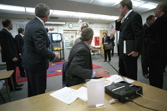 911: President George W. Bush Watches Television Coverage of Terrorist Attacks, 09/11/2001.