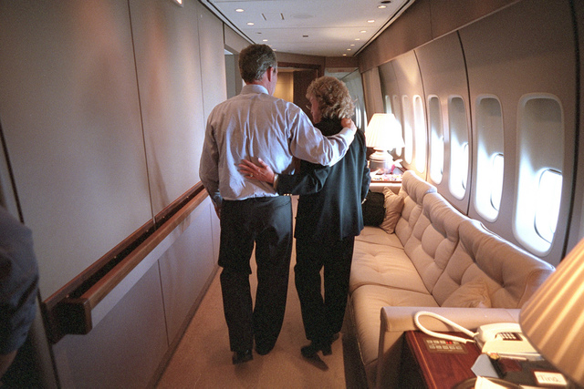 911: President George W. Bush with Harriet Miers aboard Air Force One, 09/11/2001.
