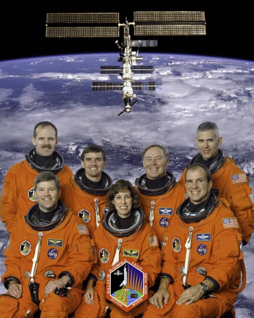 JOHNSON SPACE CENTER, HOUSTON, TEXAS. --  STS-110 CREW PORTRAIT -- (JSC STS110-5-002) -- These seven astronauts are in training for the STS-110 mission, scheduled to visit the International Space Station early next year.  In front, from the left, are astronauts Stephen N. Frick, pilot; Ellen Ochoa, flight engineer; and Michael J. Bloomfield, mission commander; in the back, from left, are astronauts Steven L. Smith, Rex J. Walheim, Jerry L. Ross and Lee M.E. Morin, all mission specialists KSC-02pp0020