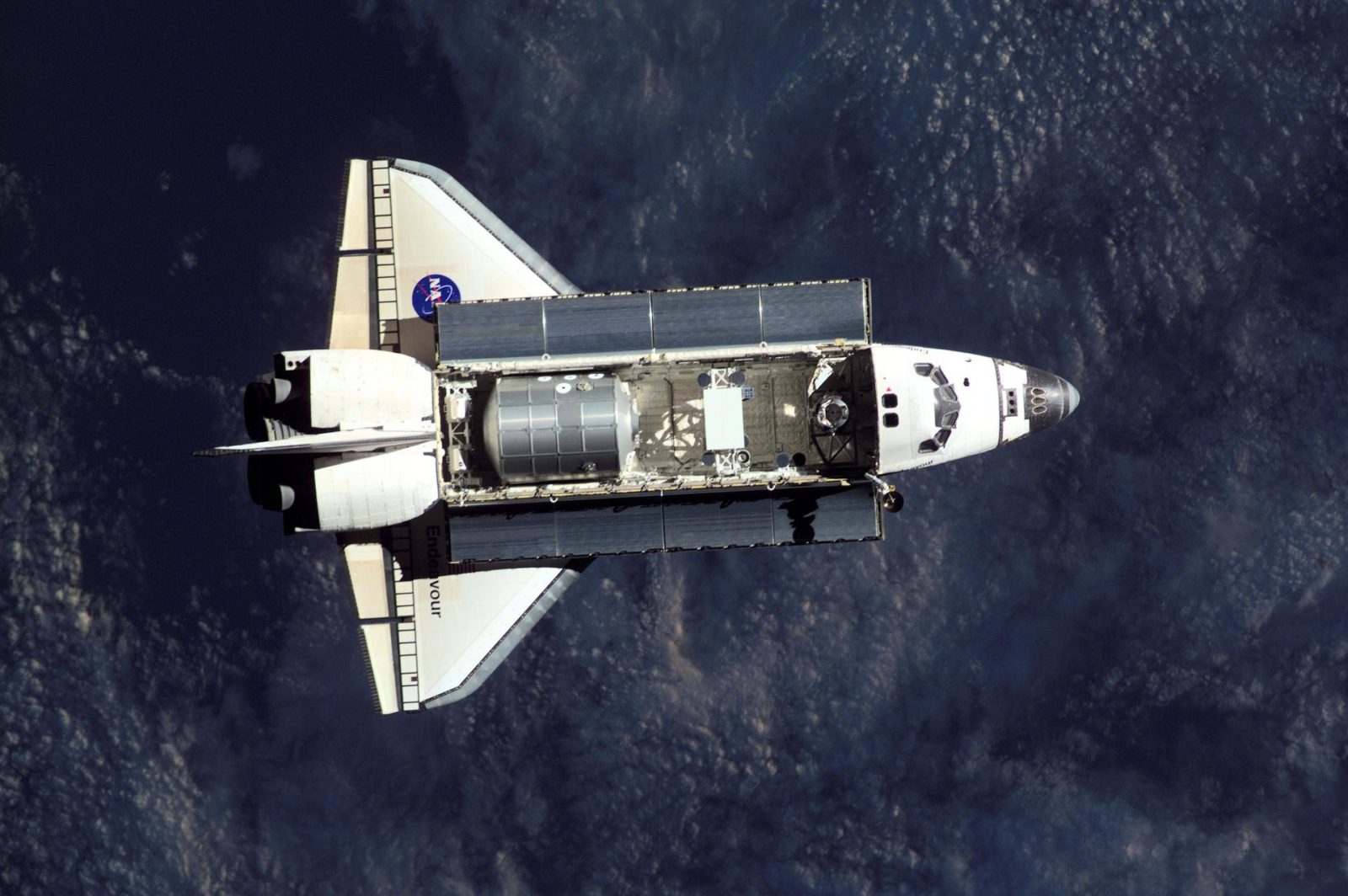 View of the docking approach of Endeavour taken during Expedition Three