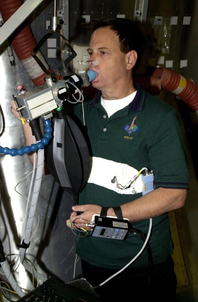 KENNEDY SPACE CENTER, FLA. - STS-107 Payload Specialist Ilan Ramon, from Israel, trains on equipment at SPACEHAB, Cape Canaveral, Fla.  STS-107 is a research mission. The primary payload is the first flight of the SHI Research Double Module (SHI/RDM). The experiments range from material sciences to life sciences (many rats).  Also part of the payload is the Fast Reaction Experiments Enabling Science, Technology, Applications and Research (FREESTAR) that incorporates eight high priority secondary attached shuttle experiments: Mediterranean Israeli Dust Experiment (MEIDEX), Shuttle Ozone Limb Sounding Experiment (SOLSE-2), Student Tracked Atmospheric Research Satellite for Heuristic International Networking Experiment (STARSHINE), Critical Viscosity of Xenon-2 (CVX-2), Solar Constant Experiment-3 (SOLOCON-3), Prototype Synchrotron Radiation Detector (PSRD), Low Power Transceiver (LPT), and Collisions Into Dust Experiment -2 (COLLIDE-2).  STS-107 is scheduled to launch in July 2002 KSC-02pd0052