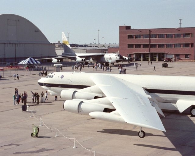 NASA's new white B-52H, shared ramp space with the veteran NASA B-52B mother ship in Wichita, Kansas, April 12, 2002 during the 50th anniversary of the B-52 aircraft. EC02-0080-93