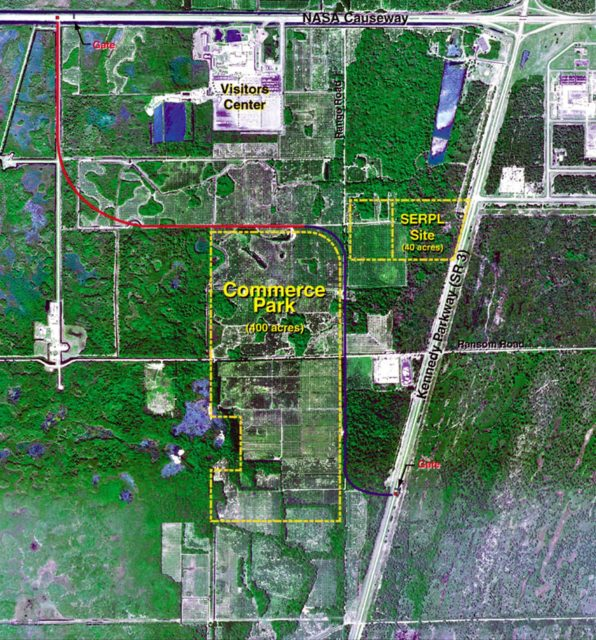 This diagram shows the planned locations of the Space Experiment Research and Processing Laboratory (SERPL) and the Space Station Commerce Park at Kennedy Space Center. The SERPL is a planned 100,000-square-foot laboratory that will provide expanded and upgraded facilities for hosting International Space Station experiment processing. In addition, it will provide better support for other biological and life sciences payload processing at KSC. It will serve as a magnet facility for the planned 400-acre Commerce Park. KSC-00PADIG-020