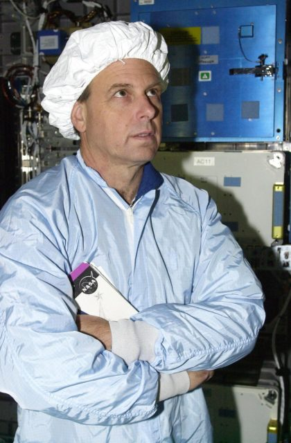 KENNEDY SPACE CENTER, FLA. - STS-107 Mission Specialist Ilan Ramon, with the Israeli Space Agency, looks at an experiment in the SHI Research Double Module (SHI/RDM), part of the payload on the mission.  The crew is taking part in Crew Equipment Interface Test activities, which include equipment and payload familiarization.  A research mission, STS-107 also will carry the Fast Reaction Experiments Enabling Science, Technology, Applications and Research (FREESTAR) that incorporates eight high priority secondary attached shuttle experiments.  STS-107 is scheduled to launch July 19, 2002 KSC-02pd0945
