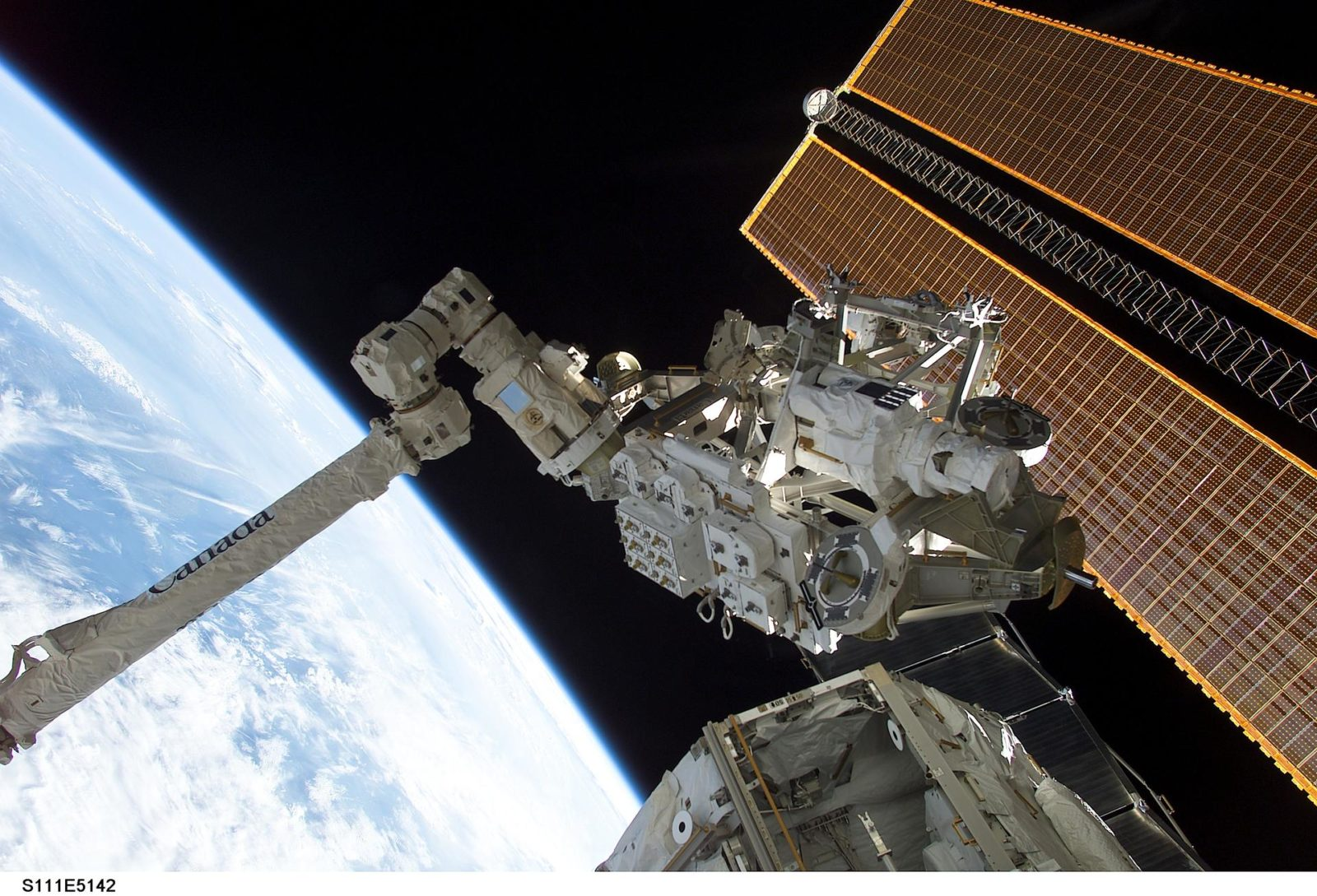 MBS grappled to the Canadarm2 SSRMS during STS-111 UF-2 installation OPS on the ISS truss structure