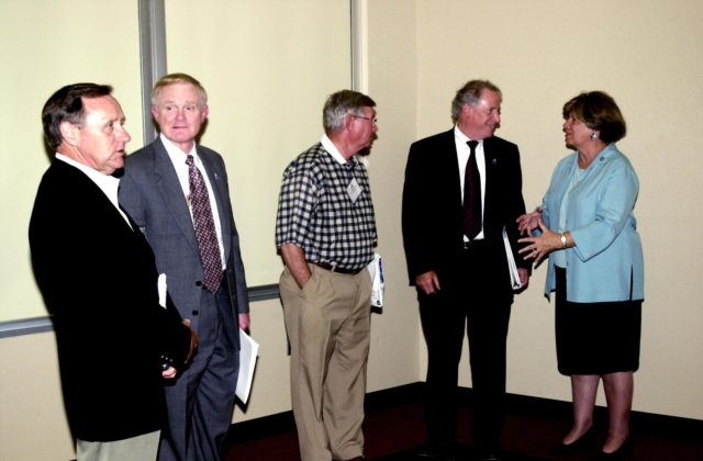 KENNEDY SPACE CENTER, FLA. -- During the 2002 Florida Press Association and Florida Society of Newspaper Editors Convention, held at the Debus Center, KSC Visitors Complex, key speakers gather.  From left are Michael Coleman, publisher, Florida Today; Roy D. Bridges Jr., Kennedy Space Center Director; Carl Cannon, publisher, Florida Times-Union and FPA president; Dr. Daniel R. Mulville, NASA associate deputy administrator; and JoAnn Morgan, director, KSC External Relations and Business Development.  Mulville was the keynote speaker. KSC-02pd0965