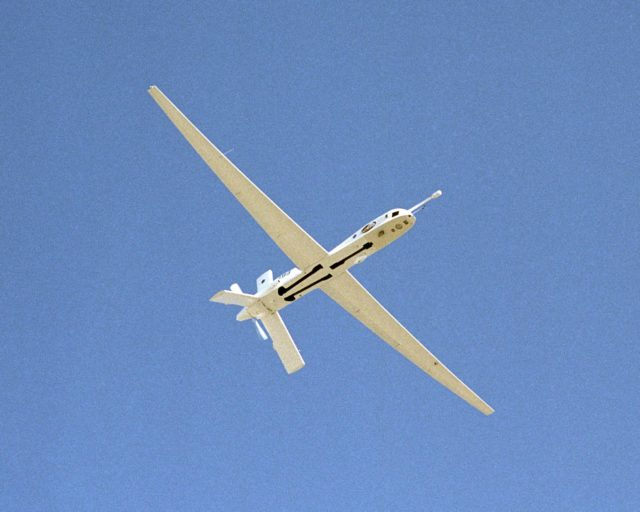 The Altus II remotely piloted aircraft carried a variety of specialized instruments and cameras during a lightning study over Florida during the summer of 2002. EC02-0162-54