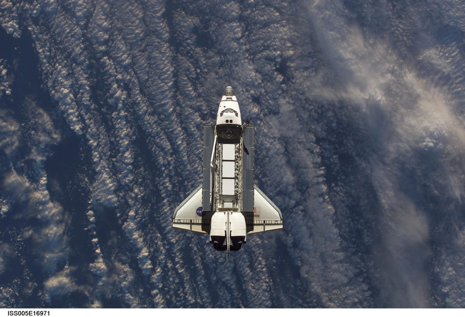 Atlantis during STS-112 approach to ISS during Expedition Five