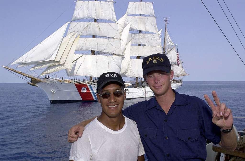 CGC Eagle crew member with Cisne Branco member