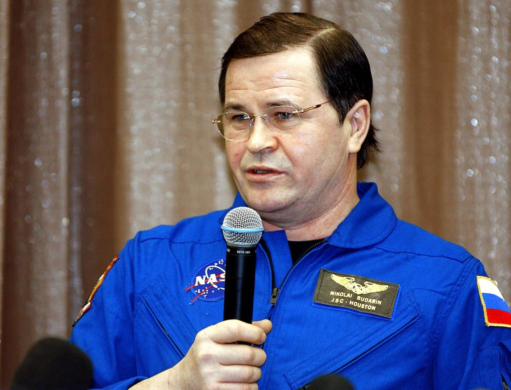 """May 6, 2003.  Star City, Russia. Expedition Six Flight Engineer Nikolai Budarin speaks during a Press Conference at the Gagarin Cosmonaut Training Center in Star City, Russia.  Photo Credit: """"NASA/Bill Ingalls"""" 03pd1540"""