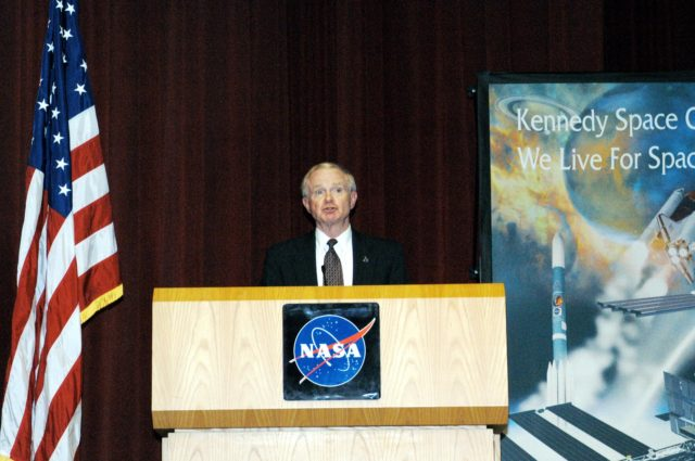 KENNEDY SPACE CENTER, FLA. -  KSC Director Roy D. Bridges addresses a group of KSC employees assembled in the KSC Training Auditorium. The occasion is the announcement of James W. Kennedy as the next director of the NASA Kennedy Space Center (KSC) in Florida. Kennedy has served as KSC's deputy director since November 2002. He will succeed Bridges, who was appointed on June 13 to lead NASA's Langley Research Center, Hampton, Va.