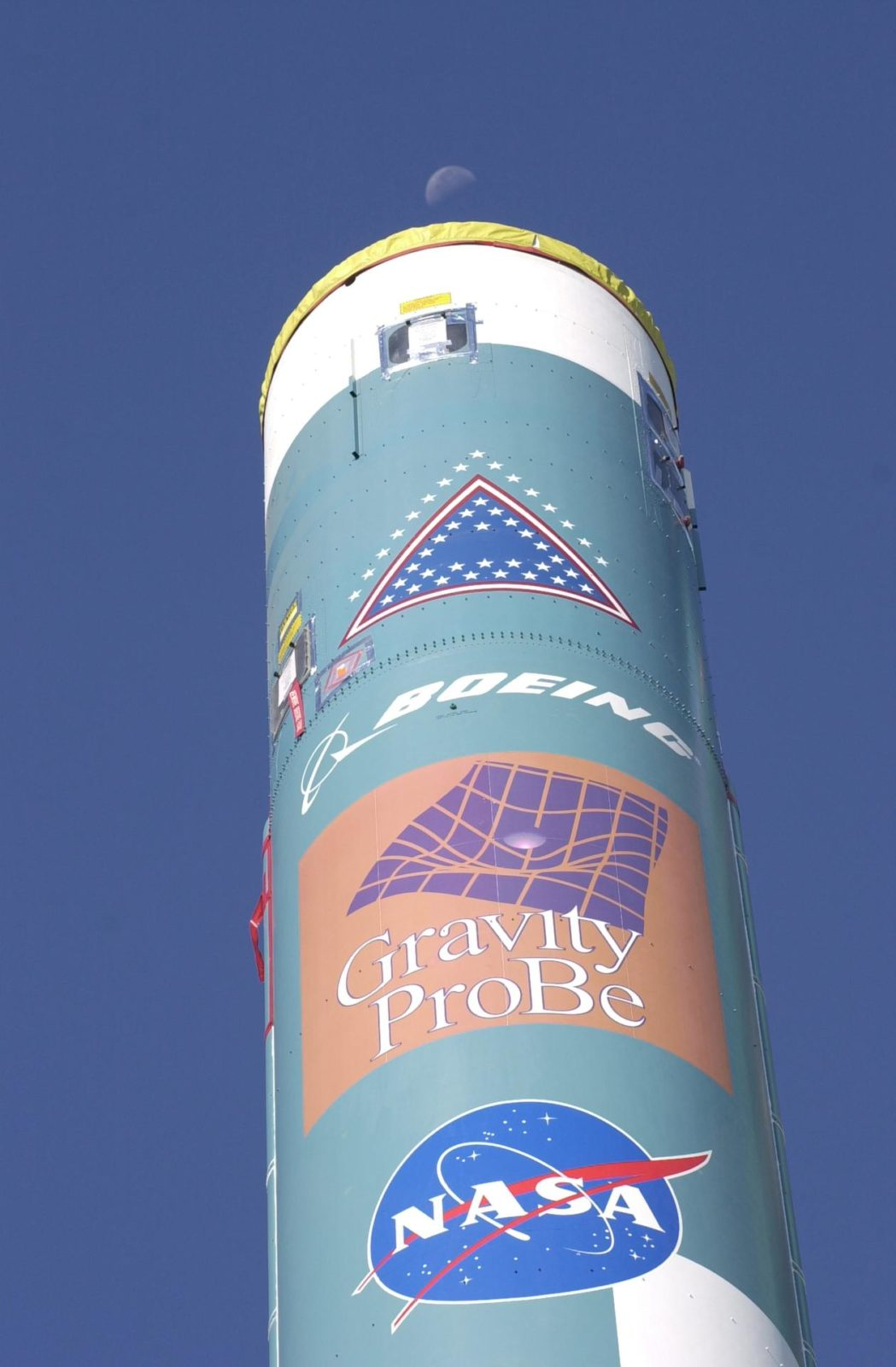 VANDENBERG AFB, CALIF. -  Logos identify the mission of this Delta II rocket that will launch the Gravity Probe B experiment, developed by Stanford University, Lockheed Martin and NASA's Marshall Space Flight Center.   The Gravity Probe B will launch a payload of four gyroscopes into low-Earth polar orbit to test two extraordinary predictions of Albert Einstein's general theory of relativity: the geodetic effect (how space and time are warped by the presence of the Earth) and frame dragging (how Earth's rotation drags space and time around with it). Once in orbit, for 18 months each gyroscope's spin axis will be monitored as it travels through local spacetime, observing and measuring these effects. The targeted launch date is Dec. 6, 2003.