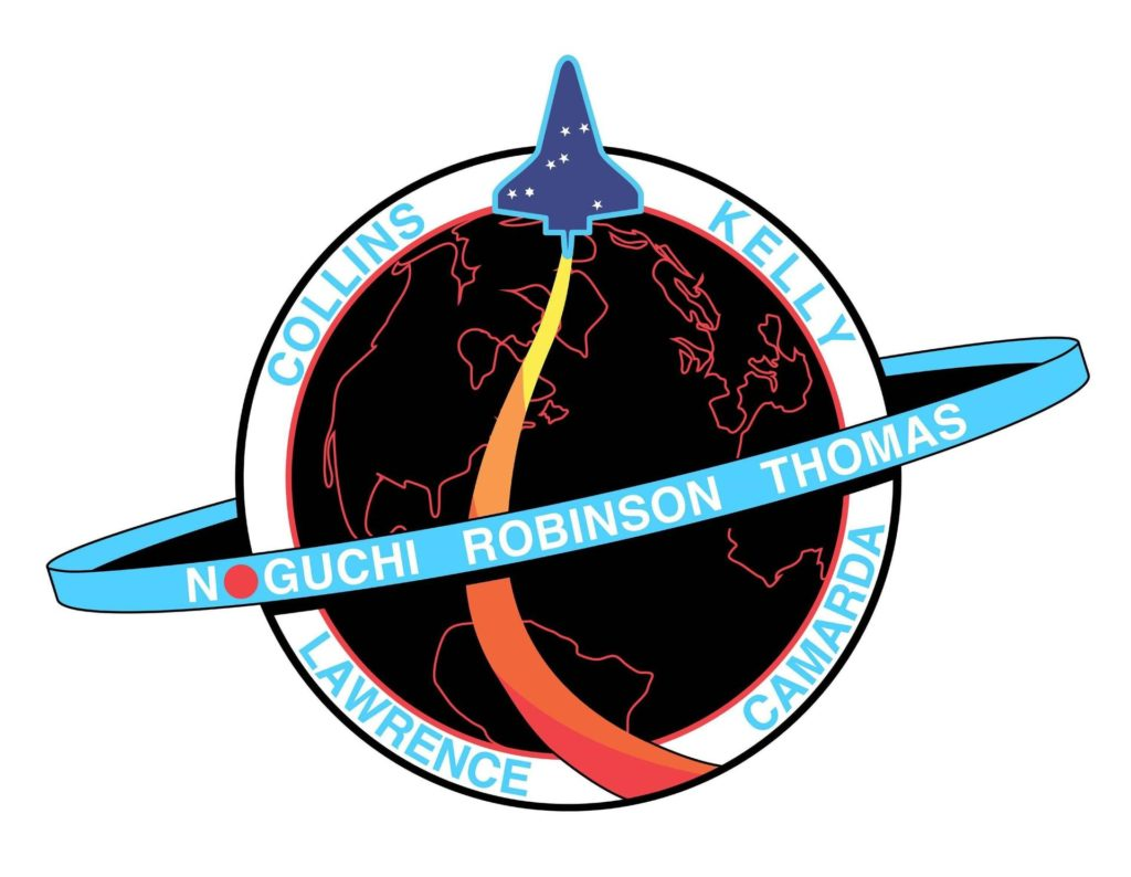 JOHNSON SPACE CENTER, Houston -  The STS-114 patch design signifies the return of the Space Shuttle to flight and honors the memory of the STS-107 Columbia crew. The blue Shuttle rising above Earth's horizon includes the Columbia constellation of seven stars, echoing the STS-107 patch and commemorating the seven members of that mission. The crew of STS-114 will carry the memory of their friends on Columbia and the legacy of their mission back into Earth orbit. The dominant design element of the STS-114 patch is the planet Earth, which represents the unity and dedication of the many people whose efforts allows the Shuttle to safely return to flight. Against the background of the Earth at night, the blue orbit represents the International Space Station (ISS), with the EVA crewmembers named on the orbit. The red sun on the orbit signifies the contributions of the Japanese Space Agency to the mission and to the ISS program. The multi-colored Shuttle plume represents the broad spectrum of challenges for this mission, including Shuttle inspection and repair experiments, and International Space Station re-supply and repair. The NASA insignia design for Shuttle flights is reserved for use by the astronauts and for other official use as the NASA Administrator may authorize. Public availability has been approved only in the forms of illustrations by the various news media. When and if there is any change in this policy, which is not anticipated, the change will be publicly announced. KSC-02pd2065