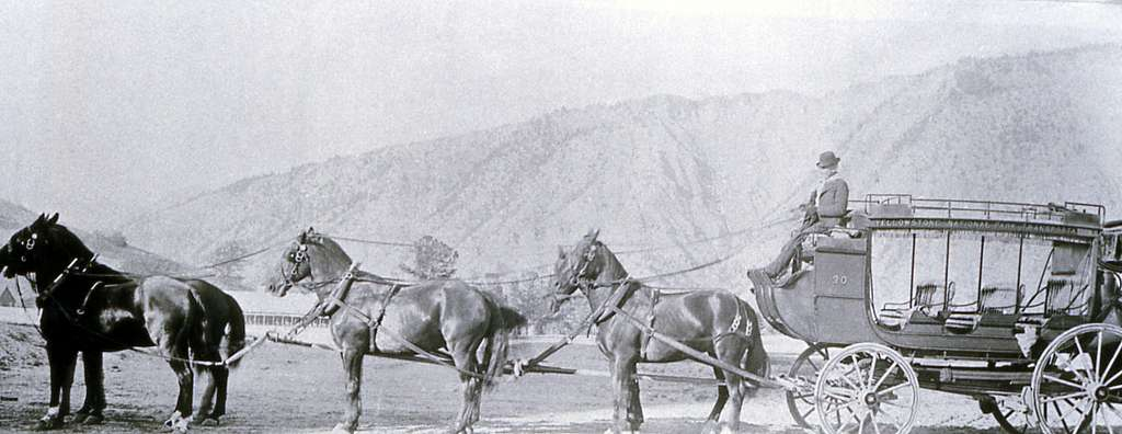 Six-horse stagecoach with Mt Everts in the background; Haynes; No date