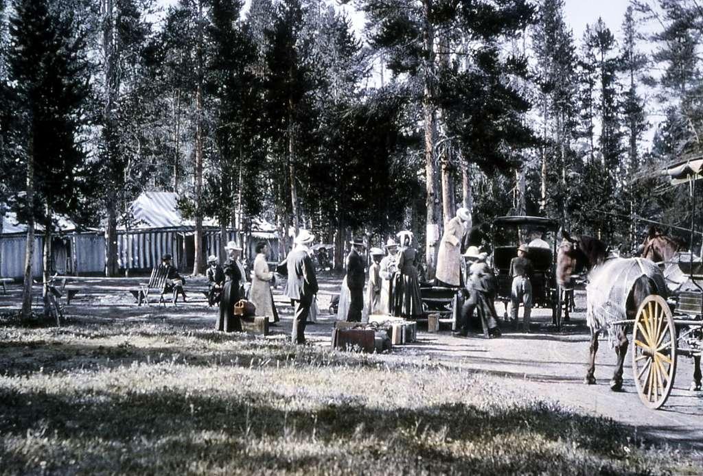 Wylie camp - tourists & horse drawn coaches; JP Clum Lantern slide; No date