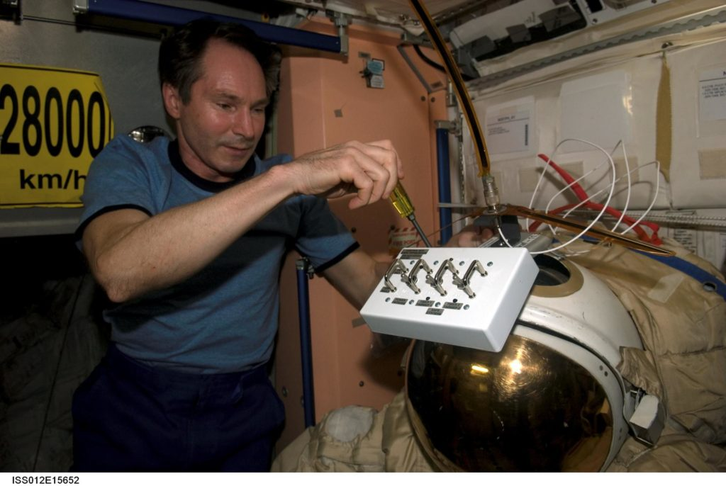 Installation of control box and antenna for Radioskaf (Suitsat-1) on Expedition 12