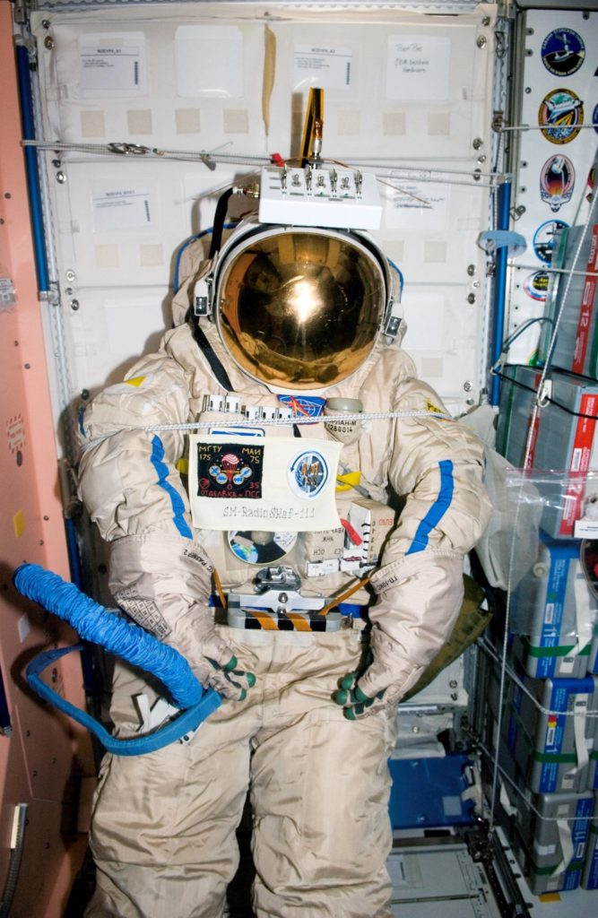 Orlan suit after Radioskaf (Suitsat-1) preparations on Expedition 12