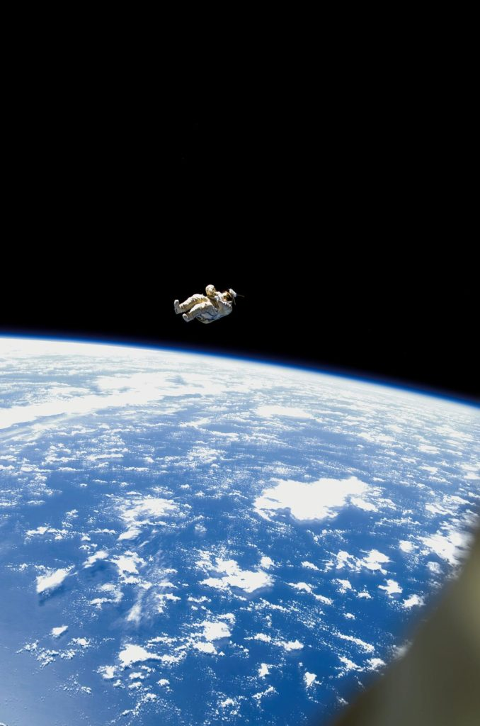 Orlan Suit RadioSkaf Microsatellite after release from the ISS during the second EVA on Expedition 12
