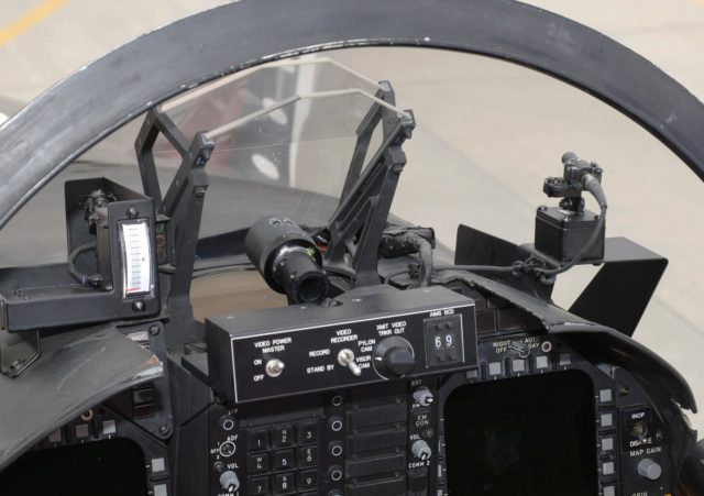 F/A-18 #845 HUD and video camera setup for Autonomous Airborne Refueling Demonstration (AARD) project ED06-0075-11