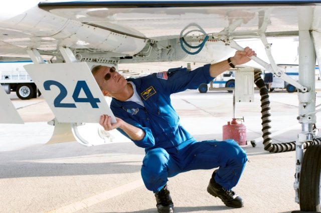 STS-115 Crew preparing for T-38 takeoff and preparations