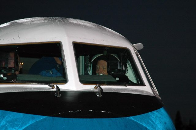 KENNEDY SPACE CENTER, FLA. -  In the cockpit of the Shuttle Training Aircraft (STA), STS-121  Commander Steven Lindsey is ready for takeoff from the Shuttle Landing Facility.  Lindsey and Pilot Mark Kelly will be making practice landings in preparation for the July 1 launch of Space Shuttle Discovery. The STA is a Grumman American Aviation-built Gulf Stream II jet that was modified to simulate an orbiter's cockpit, motion and visual cues, and handling qualities. In flight, the STA duplicates the orbiter's atmospheric descent trajectory from approximately 35,000 feet altitude to landing on a runway. Because the orbiter is unpowered during re-entry and landing, its high-speed glide must be perfectly executed the first time.  Photo credit: NASA/Kim Shiflett KSC-06pd1262