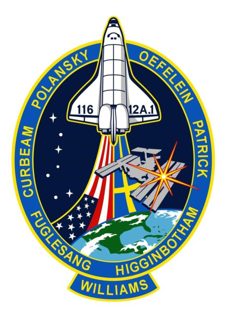 JOHNSON SPACE CENTER, Houston, Texas -- STS116-S-001 (July 2006) - The STS-116 patch design signifies the continuing assembly of the International Space Station (ISS). The primary mission objective is to deliver and install the P5 truss element. The P5 installation will be conducted during the first of three planned spacewalks, and will involve use of both the shuttle and station robotic arms. The remainder of the mission will include a major reconfiguration and activation of the ISS electrical and thermal control systems, as well as delivery of Zvezda Service Module debris panels, which will increase ISS protection from potential impacts of micro-meteorites and orbital debris. In addition, a single expedition crew member will launch on STS-116 to remain onboard the station, replacing an expedition crew member who will fly home with the shuttle crew. The crew patch depicts the space shuttle rising above the Earth and ISS. The United States and Swedish flags trail the orbiter, depicting the international composition of the STS-116 crew. The seven stars of the constellation Ursa Major are used to provide direction to the North Star, which is superimposed over the installation location of the P5 truss on ISS. The NASA insignia design for space shuttle space flights is reserved for use by the astronauts and other official use as the NASA Administrator may authorize. Public availability has been approved only in the form of illustrations by the various news media. When and if there is any change in this policy, which is not anticipated, such will be publicly announced. KSC-06pd2382