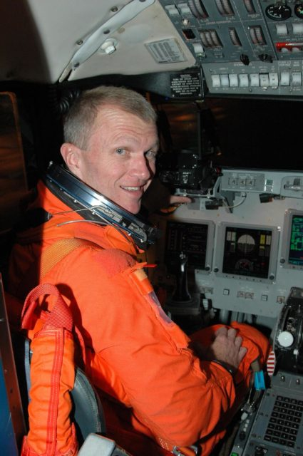 KENNEDY SPACE CENTER, FLA. -  STS-115 Commander Brent Jett settles in the cockpit of the Shuttle Training Aircraft to practice landing the shuttle.  STA practice is part of launch preparations.  The STA is a Grumman American Aviation-built Gulf Stream II jet that was modified to simulate an orbiter's cockpit, motion and visual cues, and handling qualities. In flight, the STA duplicates the orbiter's atmospheric descent trajectory from approximately 35,000 feet altitude to landing on a runway. Because the orbiter is unpowered during re-entry and landing, its high-speed glide must be perfectly executed the first time.  Mission STS-115 is scheduled to lift off about 4:30 p.m. Aug. 27.  The crew will deliver and install the P3/P4 segment to the port side of the integrated truss system on the International Space Station.  The truss includes a new set of photovoltaic solar arrays.  When unfurled to their full length of 240 feet, the arrays will provide additional power for the station in preparation for the delivery of international science modules over the next two years.  The mission is expected to last 11 days and includes three scheduled spacewalks.   Photo credit: NASA/Kim Shiflett KSC-06pd1909