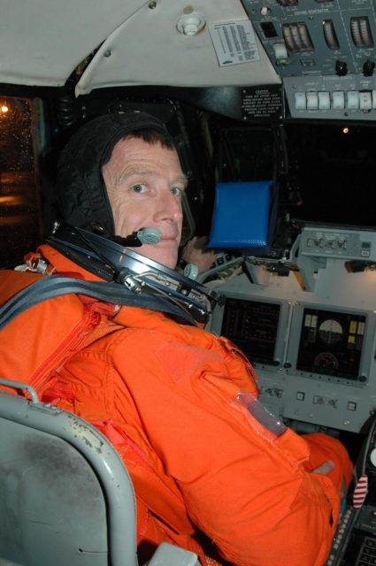 KENNEDY SPACE CENTER, FLA. -  STS-115 Pilot Christopher Ferguson settles in the cockpit of the Shuttle Training Aircraft to practice landing the shuttle.  STA practice is part of launch preparations. The STA is a Grumman American Aviation-built Gulf Stream II jet that was modified to simulate an orbiter's cockpit, motion and visual cues, and handling qualities. In flight, the STA duplicates the orbiter's atmospheric descent trajectory from approximately 35,000 feet altitude to landing on a runway. Because the orbiter is unpowered during re-entry and landing, its high-speed glide must be perfectly executed the first time.  Mission STS-115 is scheduled to lift off about 4:30 p.m. Aug. 27.  The crew will deliver and install the P3/P4 segment to the port side of the integrated truss system on the International Space Station.  The truss includes a new set of photovoltaic solar arrays.  When unfurled to their full length of 240 feet, the arrays will provide additional power for the station in preparation for the delivery of international science modules over the next two years.  The mission is expected to last 11 days and includes three scheduled spacewalks.   Photo credit: NASA/Kim Shiflett KSC-06pd1910