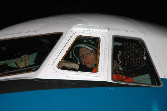 KENNEDY SPACE CENTER, FLA. -  STS-115 Commander Brent Jett is seen at the controls of the Shuttle Training Aircraft which he will fly to practice landing the shuttle.  STA practice is part of launch preparations.  The STA is a Grumman American Aviation-built Gulf Stream II jet that was modified to simulate an orbiter's cockpit, motion and visual cues, and handling qualities. In flight, the STA duplicates the orbiter's atmospheric descent trajectory from approximately 35,000 feet altitude to landing on a runway. Because the orbiter is unpowered during re-entry and landing, its high-speed glide must be perfectly executed the first time.  Mission STS-115 is scheduled to lift off about 4:30 p.m. Aug. 27.  The crew will deliver and install the P3/P4 segment to the port side of the integrated truss system on the International Space Station.  The truss includes a new set of photovoltaic solar arrays.  When unfurled to their full length of 240 feet, the arrays will provide additional power for the station in preparation for the delivery of international science modules over the next two years.  The mission is expected to last 11 days and includes three scheduled spacewalks.   Photo credit: NASA/Kim Shiflett KSC-06pd1911