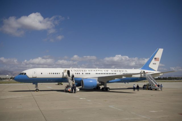 Vice President Dick Cheney lands at MFA for Bay Area Visit: Air Force Two parked on tarmac @ MFA ARC-2006-ACD06-0165-016