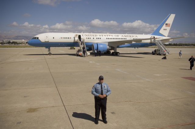 Vice President Dick Cheney lands at MFA for Bay Area Visit: Air Force Two parked on tarmac @ MFA ARC-2006-ACD06-0165-018