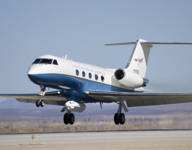 NASA's Gulfstream-III research testbed lifts off the Edwards AFB runway on an envelope-expansion flight test with the UAV synthetic aperture radar pod. ED07-0027-39
