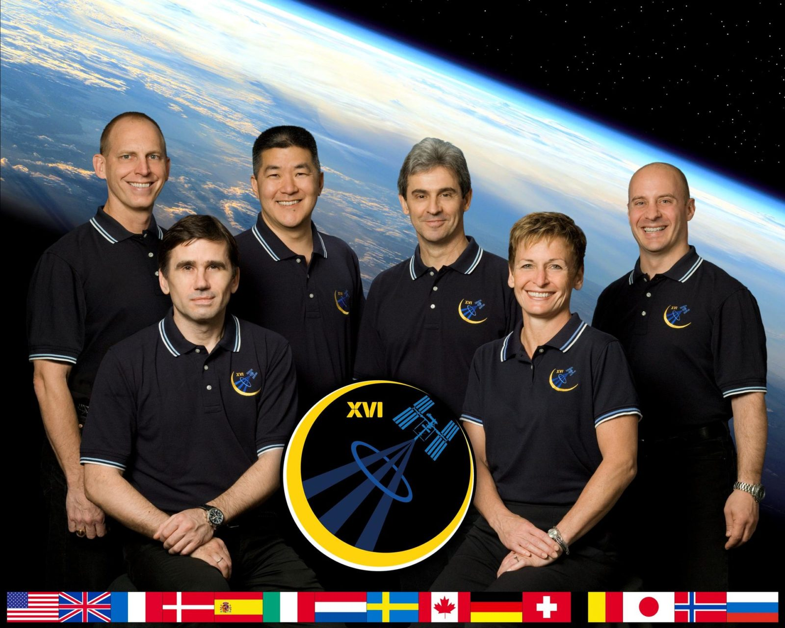 ISS016-S-002F (June 2007) --- This crew portrait shows the variety of crewmembers who will occupy the International Space Station during Expedition 16. Astronaut Peggy Whitson (front row, right), station commander; and Russia's Federal Space Agency cosmonaut Yuri Malenchenko (front row, left), flight engineer and Soyuz commander, will join NASA astronaut Clay Anderson (back row, left), flight engineer, in October after launching from the Baikonur Cosmodrome in Kazakhstan on the Soyuz TMA-11 spacecraft. Anderson will be replaced in October by astronaut Dan Tani (back row, second from left), flight engineer, who will yield his place in December to Leopold Eyharts of the European Space Agency (back row, third from left). Eyharts will be replaced in February 2008 by astronaut Garrett Reisman (back row, far right), flight engineer. iss016-s-002f