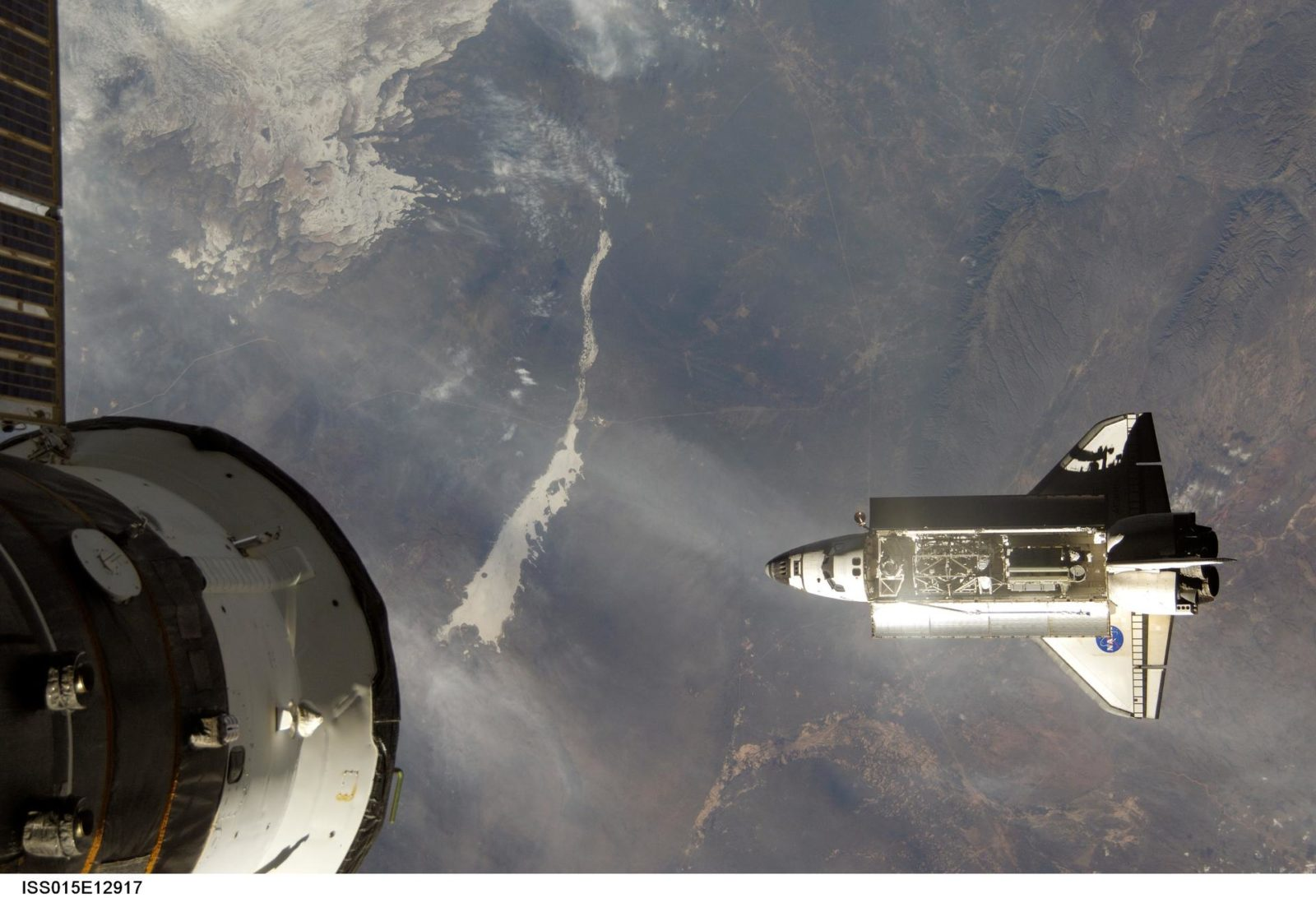 View of Atlantis on approach to the ISS for Expedition 15/STS-117 Joint Operations