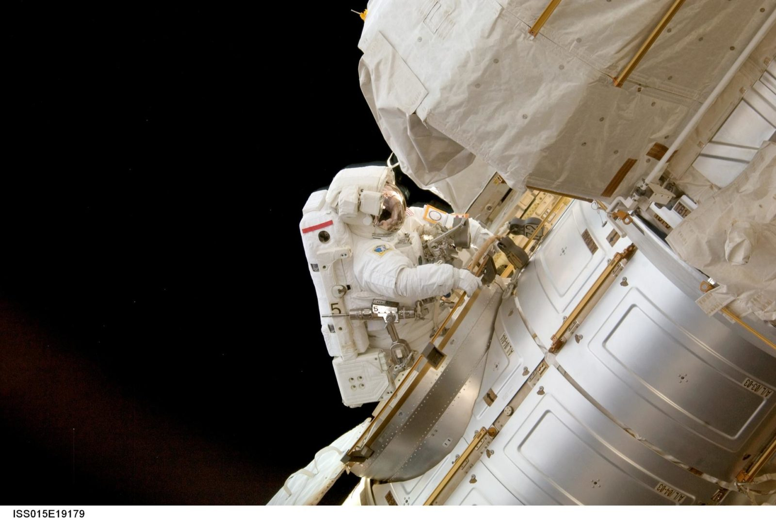 View of Anderson entering the Node 1 CBM after a session of EVA on Expedition 15