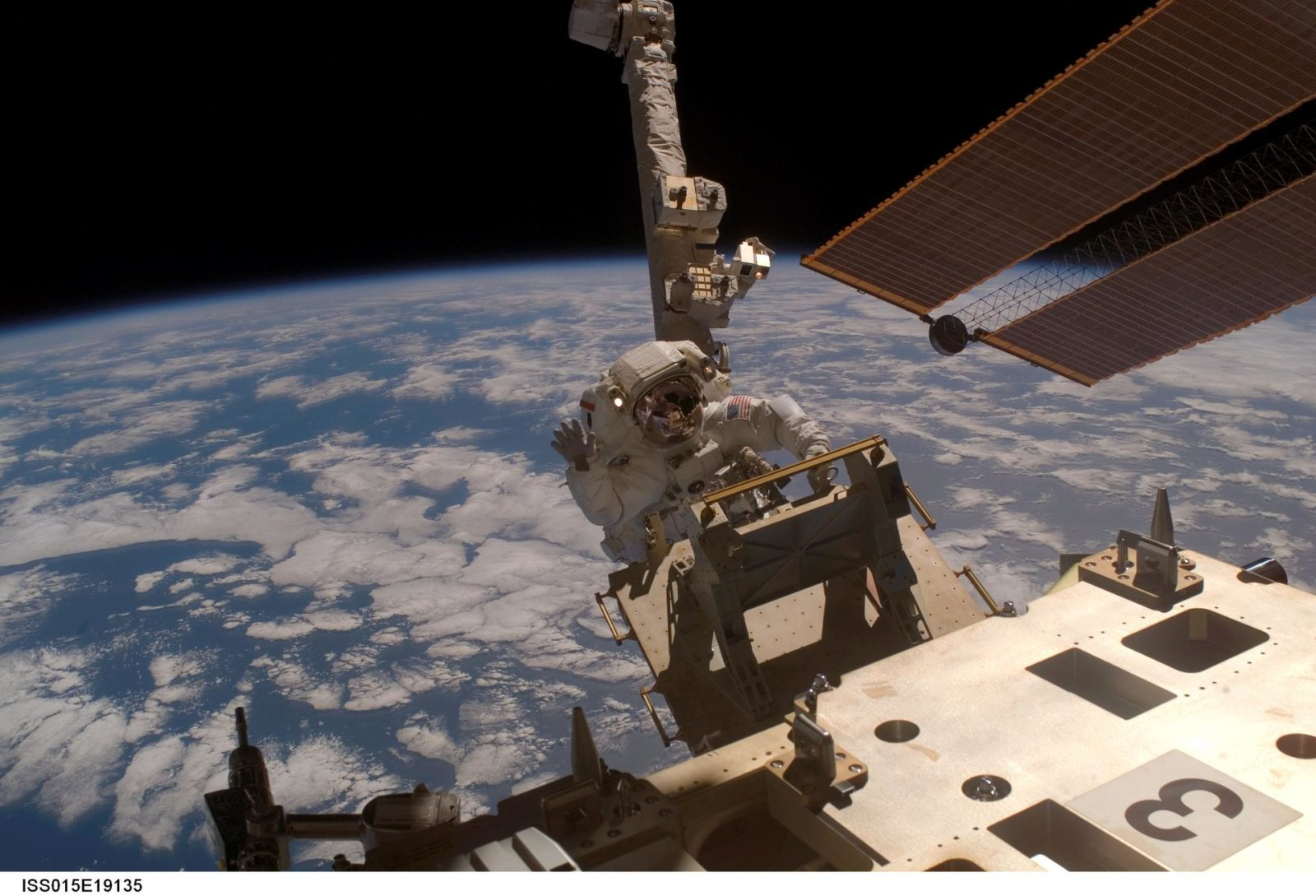 View of Anderson removing the EAS during a session of EVA on Expedition 15