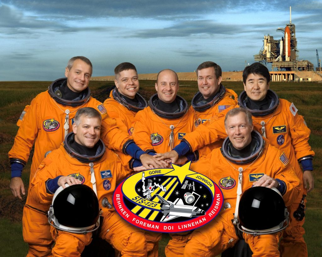 STS123-S-002 (26 July 2007) --- These seven astronauts take a break from training to pose for the STS-123 crew portrait. From the right (front row) are astronauts Dominic L. Gorie, commander; and Gregory H. Johnson, pilot. From the left (back row) are astronauts Richard M. Linnehan, Robert L. Behnken, Garrett E. Reisman, Michael J. Foreman and Japan Aerospace Exploration Agency's (JAXA) Takao Doi, all mission specialists. Reisman is scheduled to join Expedition 16 as flight engineer after launching to the International Space Station on mission STS-123. The crewmembers are attired in training versions of their shuttle launch and entry suits. STS123-S-002