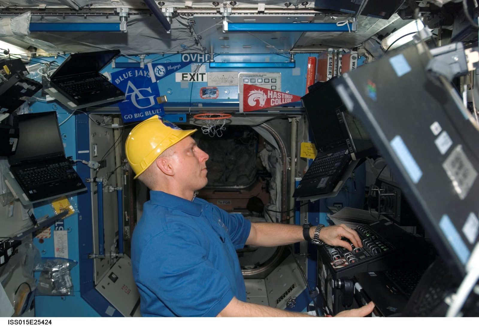 View of Anderson working in the US Lab during Expedition 15