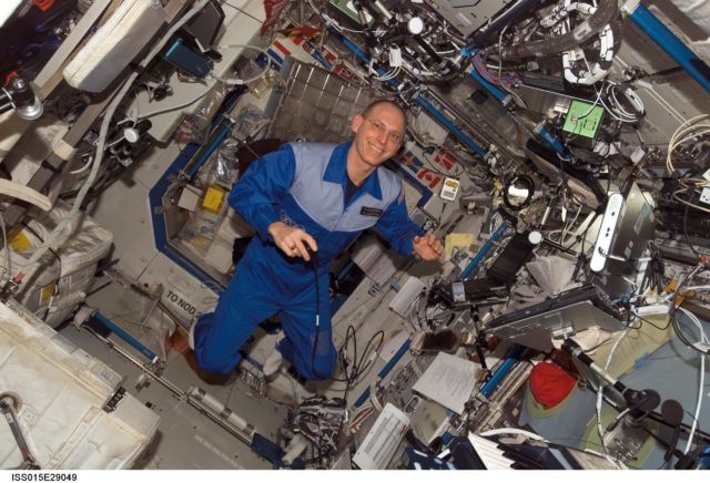 View of Anderson during a private conference via S and Ku Band Receiver in the US Lab during Expedition 15