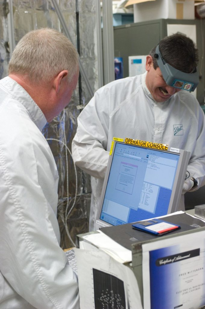Kepler project; technicians from Ball Aerospace work on  and in the test chamber assembled at Nasa Ames Research center testing components ARC-2008-ACD07-0203-180