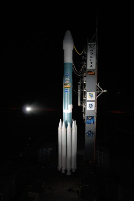 KENNEDY SPACE CENTER, FLA. -- The Delta II rocket stands ready for launch following rollback of the mobile service tower, or gantry, on Launch Pad 17B at Cape Canaveral Air Force Station.  Starting with a boost from this higher thrust version of the Delta II rocket, the Dawn spacecraft will study the asteroid Vesta and dwarf planet Ceres, celestial bodies believed to have accreted early in the history of the solar system. To carry out its scientific mission during its nearly decade-long mission, Dawn will carry a visible camera, a visible and infrared mapping spectrometer, and a gamma ray and neutron spectrometer, whose data will be used in combination to characterize these bodies. In addition to the three instruments, radiometric and optical navigation data will provide data relating to the gravity field, and thus, bulk properties and internal structure of the two bodies. Data returned from the Dawn spacecraft could provide opportunities for significant breakthroughs in our knowledge of how the solar system formed.  Launch is targeted for Sept. 27 during a window that extends from 7:20 to 7:49 a.m. EDT.   Photo credit: NASA/Kim Shiflett KSC-07pd2581