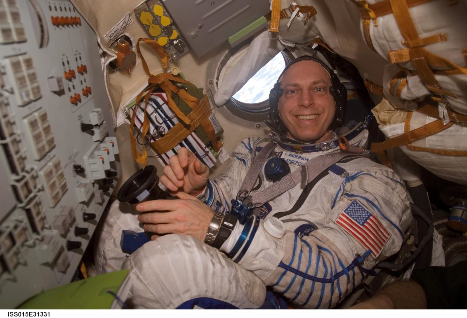 View of Expedition 15 FE Anderson inside a Soyuz Spacecraft