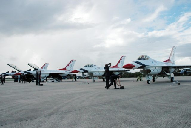 KENNEDY SPACE CENTER, FLA. -- U.S. Air Force Thunderbirds line up on the Shuttle Landing Facility at NASA's Kennedy Space Center.  The aerial demonstration squadron is performing for the World Space Expo being held from Nov. 1 to Nov. 4 at the NASA Kennedy Space Center Visitor Complex.  Other aircraft participating in the salute include U.S. Air Force F-22 Raptor, U.S. Navy F-18 Super Hornet, U.S. Air Force F-15 Eagle, the P-51 Mustang Heritage Flight and the U.S. Air Force 920th Rescue Wing, which was responsible for Mercury and Gemini capsule recovery.  The U.S. Army Golden Knights also will demonstrate precision skydiving.  The World Space Expo is an event to commemorate humanity's first 50 years in space while looking forward to returning people to the moon and exploring beyond. The expo will showcase various panels, presentations and educational programs. It also is a part of NASA's 50th anniversary celebrations, highlighting the 45th Anniversary of the Mercury Program celebration featuring original NASA astronauts John Glenn and Scott Carpenter and the Pioneering Women of Aerospace forum featuring Eileen Collins and other prominent female space veterans. The agency was founded Oct. 1, 1958.  Photo credit: NASA/Jack Pfaller KSC-07pd3057