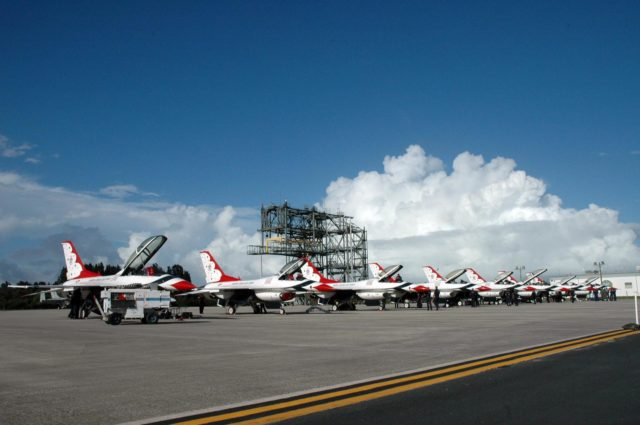 KENNEDY SPACE CENTER, FLA. -- U.S. Air Force Thunderbirds line up on the Shuttle Landing Facility at NASA's Kennedy Space Center.  The aerial demonstration squadron is performing for the World Space Expo being held from Nov. 1 to Nov. 4 at the NASA Kennedy Space Center Visitor Complex.  Other aircraft participating in the salute include U.S. Air Force F-22 Raptor, U.S. Navy F-18 Super Hornet, U.S. Air Force F-15 Eagle, the P-51 Mustang Heritage Flight and the U.S. Air Force 920th Rescue Wing, which was responsible for Mercury and Gemini capsule recovery.  The U.S. Army Golden Knights also will demonstrate precision skydiving.  The World Space Expo is an event to commemorate humanity's first 50 years in space while looking forward to returning people to the moon and exploring beyond. The expo will showcase various panels, presentations and educational programs. It also is a part of NASA's 50th anniversary celebrations, highlighting the 45th Anniversary of the Mercury Program celebration featuring original NASA astronauts John Glenn and Scott Carpenter and the Pioneering Women of Aerospace forum featuring Eileen Collins and other prominent female space veterans. The agency was founded Oct. 1, 1958.  Photo credit: NASA/Jack Pfaller KSC-07pd3058